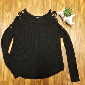 Express cold shoulder corset detail sweater